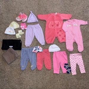 Baby Girl 0-3M Clothing Lot